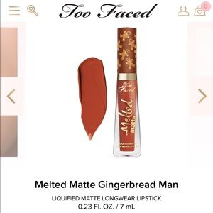 NIB TOO FACED MELTED MATTE GINGERBREAD MAN